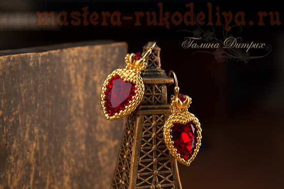 Мастер-класс по бисероплетению: Червонная дама: оплетение капель сердечком