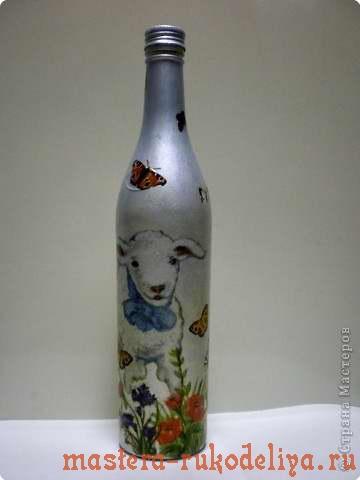 Мастер-класс по декупажу: Бутылка Агнец