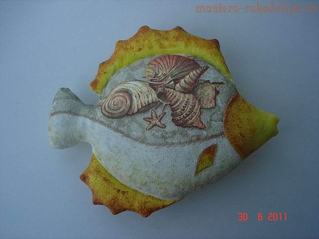 Мастер-класс по декупажу на ткани: Рыбка