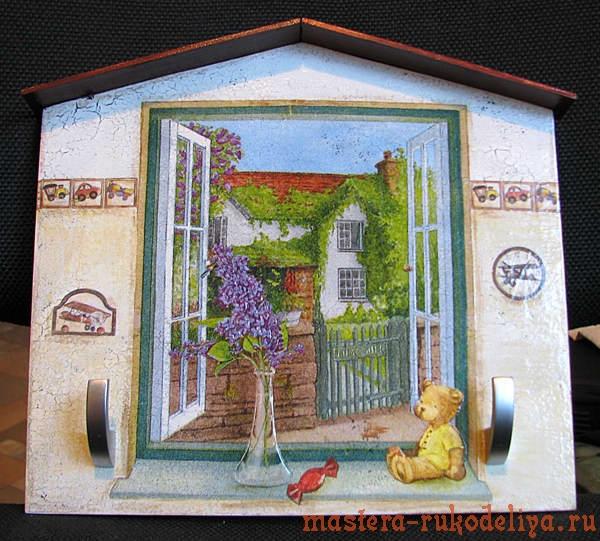 Мастер-класс по декупажу: Домик-вешалка; Окно из детской.