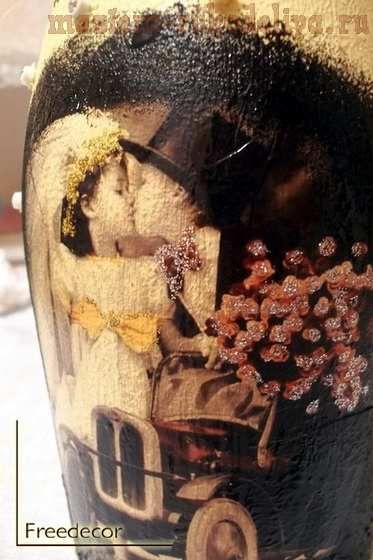 Мастер-класс по декупажу на стекле: Бутылка; С годовщиной свадьбы.