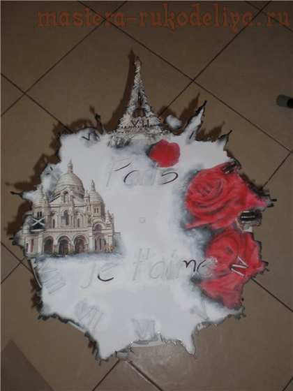 Мастер-класс по декупажу на металле: Часы; Париж, я люблю тебя.