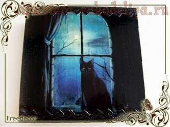 Мастер-класс по декупажу по дереву: Шкатулка; Чёрная кошка.