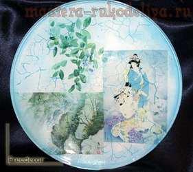 Мастер-класс по декупажу на стекле: Декоративная тарелка; Япония.