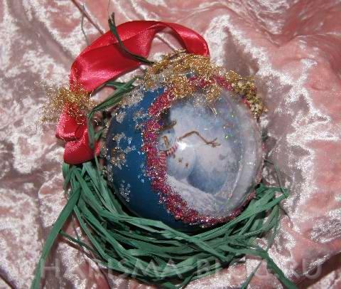 Мастер-класс по декупажу: Делаем новогодний шар с ребенком