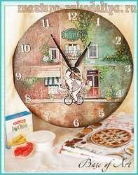 Мастер-класс по декупажу на дереве: Часы Французский повар
