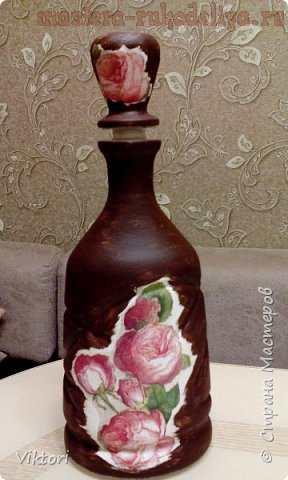 Мастер-класс по декупажу на стекле: Бутылка в стиле шебби