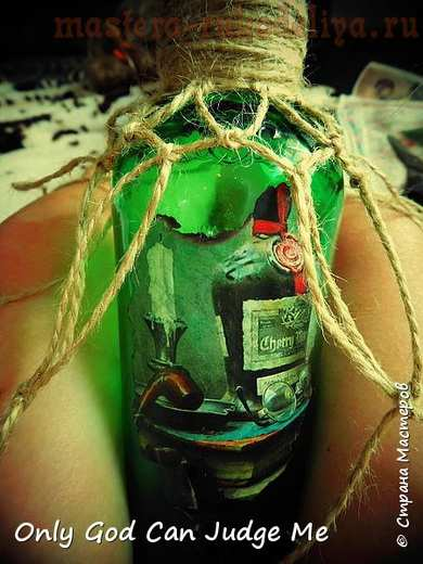 Мастер-класс по декупажу на стекле: Бутылка William Lawson's