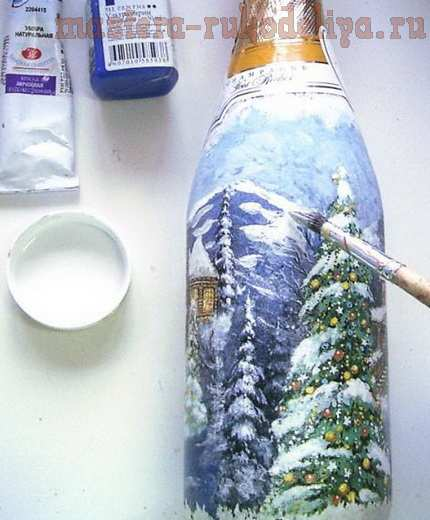 Мастер-класс по декупажу на стекле: Бутылка; Зимняя сказка.
