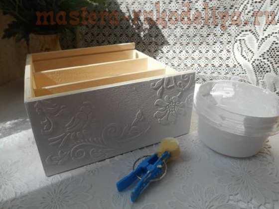 Мастер-класс по декупажу на дереве: Чайная коробка с объемным орнаментом