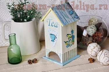 Мастер-класс по декупажу на дереве; Чайный домик с птичками.