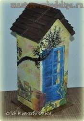 Мастер-класс по декупажу на дереве: Чайный домик с деревянной крышей