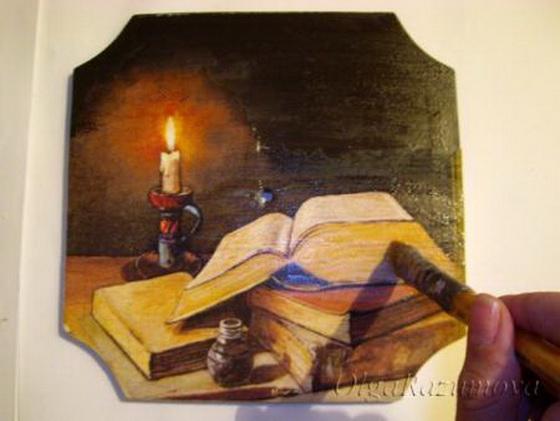 Мастер-класс по декупажу на дереве: Часы «Горящая свеча»