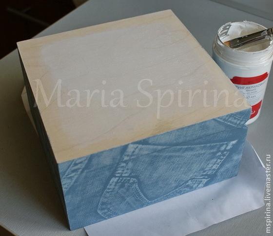 Мастер-класс по декупажу на дереве: Декорирование шкатулки а-ля Бохо (имитация джинсы и белой тиснёной кожи)