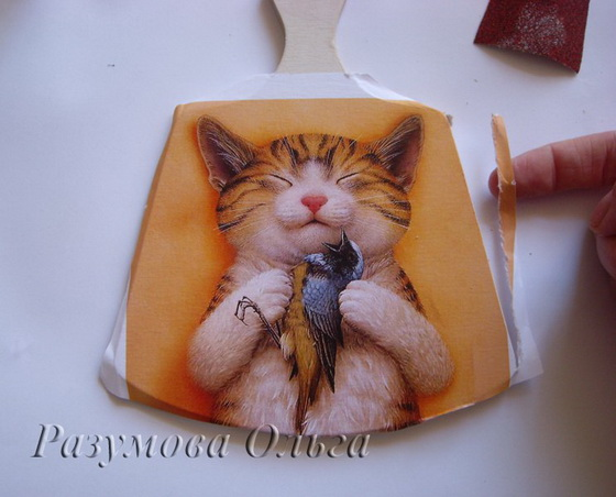 Мастер-класс по декупажу на дереве: Доска; Счастливый кот.