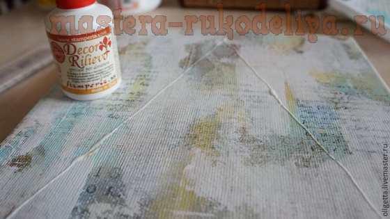 Мастер-класс по декупажу на ткани: Коллаж «Новогодний» на холсте в смешанной технике