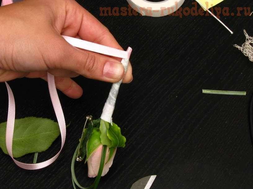 Фото мастер-класс по флористике: Сборка бутоньерки в технике тейпирования