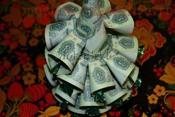 Мастер-класс по букетам из конфет: Елка из конфет и денежных купюр
