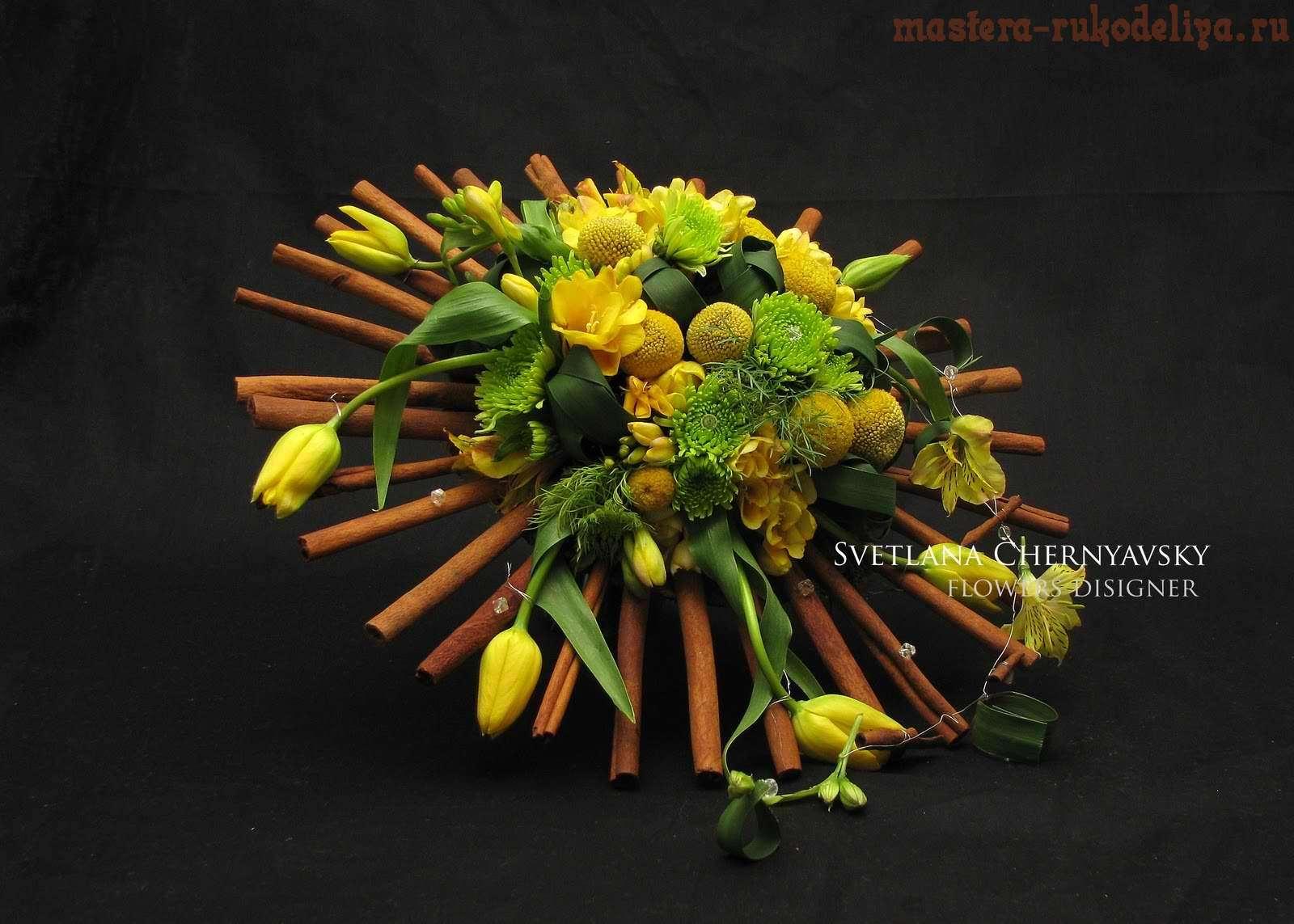 Фото мастер-класс по флористике: Букет на каркасе с корицей