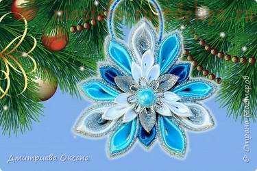 Видео мастер-класс по канзаши: Новогоднее украшение на елку Снежинка Канзаши
