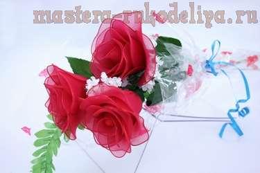 Видео мастер-класс по цветам из капрона: Большая роза