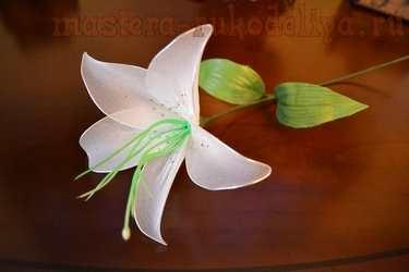 Мастер-класс по созданию цветов из капрона: Белая лилия