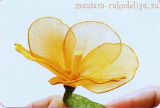 Мастер-класс по созданию цветов из капрона: Желтый цветок для букета