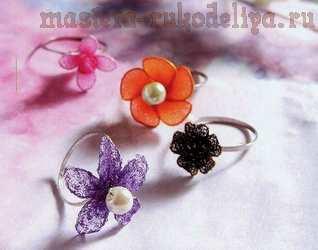 Мастер-класс по созданию украшений из капрона: Кольцо Цветок с жемчужиной