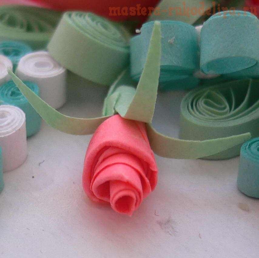 Мастер-класс по квиллингу: Бутончик с розой из Корзинки с розами