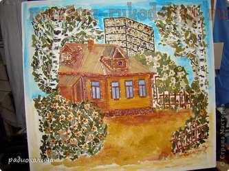 Мастер-класс по мозаике из макарон и круп: Панно; Домик родом из детства.