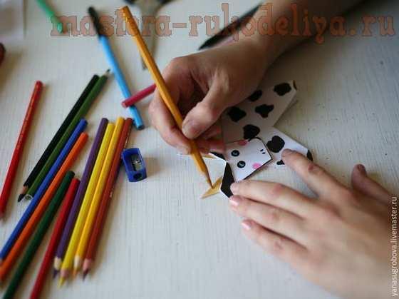 Мастер-класс по оригами: Аппликация в смешанной технике; Буренки.