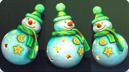 Как сделать снеговика своими руками из бумажной глины