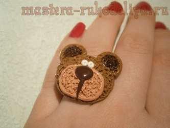 Мастер-класс по лепке из полимерной глины: Кольцо Карамельный мишка