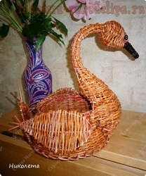 Мастер-класс по плетению из газет: Корзина Лебедь