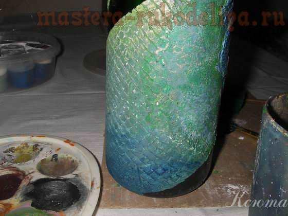 Мастер-класс по имитация кожи рептилии: Бутылка Кожа дракона