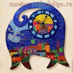 Мастер-класс по выпиливанию из дерева: Часы большие; Синий кот.
