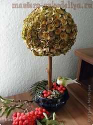 Мастер-класс: Деревянные розочки - Осеннее деревце