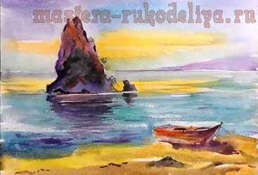 Видео мастер-класс по рисованию акварелью: Морской пейзаж