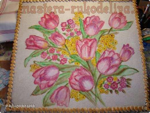 Мастер-класс по рисованию на манке: Букет весенних тюльпанов