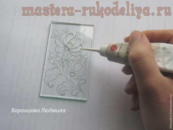 Мастер-класс по витражной росписи: Фонарик в стиле; Гжель.