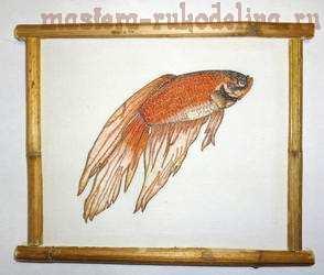 Видео мастер-класс по имитации японской гравюры: Золотая рыбка Фен-шуй