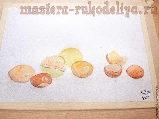 Мастер-класс по рисованию: Каштаны акварелью