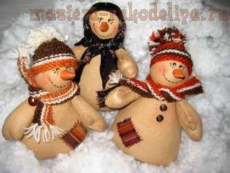 Мастер-класс по шитью игрушек: Кофейно-коричный снеговик