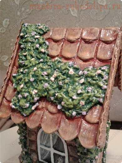 Как задекорировать заготовку Чайный домик с помощью соленого теста и шпатлевки