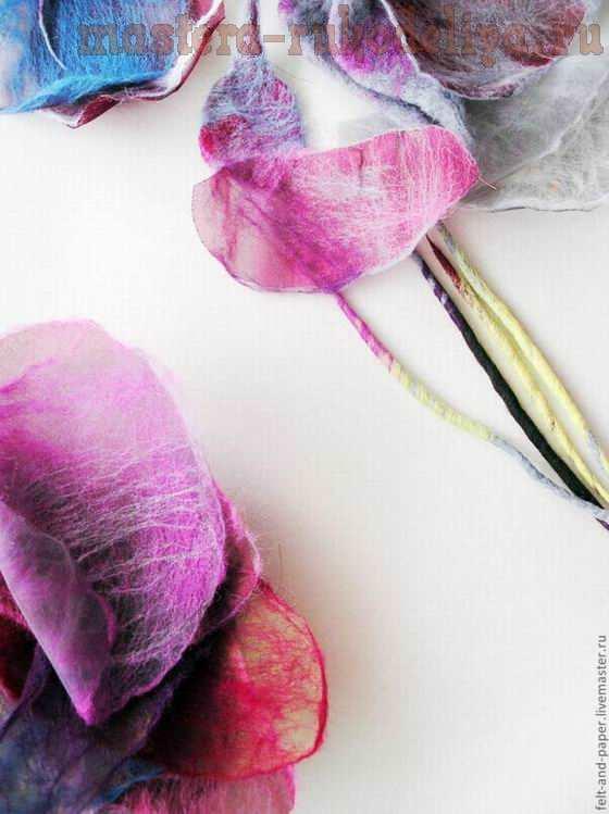 Мастер-класс по валянию: Брошь-роза из войлока и органзы