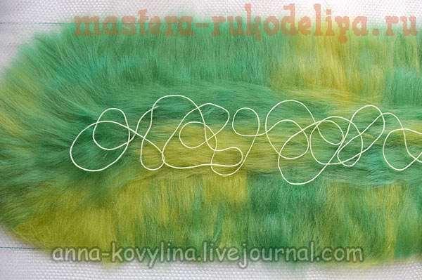 Мастер-класс по мокрому валянию: Капустный шарфик (шарф с воланами) с узорами из пряжи