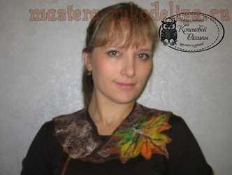 Мастер-класс по мокрому валянию: Воротничок Кленовый лист