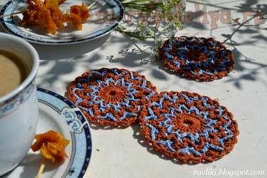Вязание крючком: Чайные кругляши-подставки