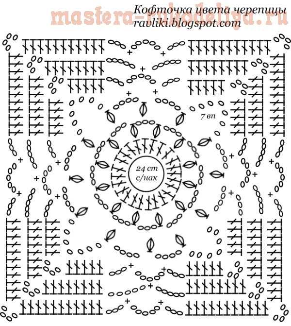 Вязание крючком: Кофточка цвета черепицы