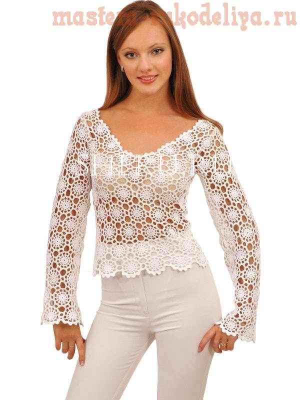 Схема вязания крючком: Ажурная блуза из элементов